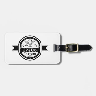 Established In 27705 Durham Luggage Tag