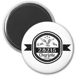 Established In 28215 Charlotte 6 Cm Round Magnet
