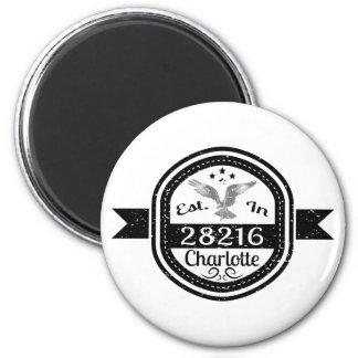 Established In 28216 Charlotte 6 Cm Round Magnet