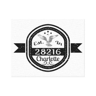 Established In 28216 Charlotte Canvas Print