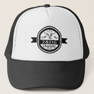 Established In 28216 Charlotte Trucker Hat