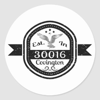 Established In 30016 Covington Classic Round Sticker