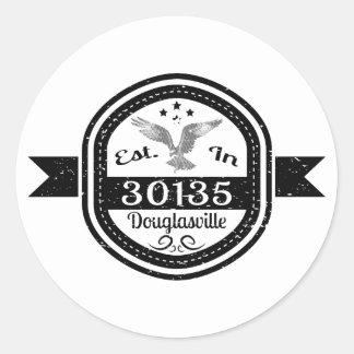 Established In 30135 Douglasville Classic Round Sticker