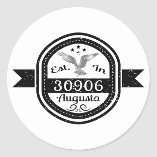 Established In 30906 Augusta Classic Round Sticker