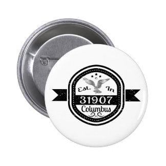 Established In 31907 Columbus 6 Cm Round Badge
