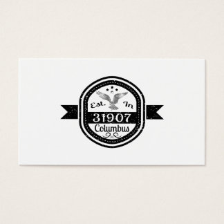 Established In 31907 Columbus Business Card