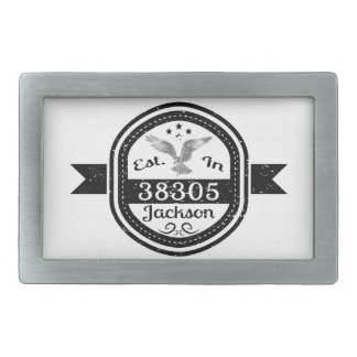 Established In 38305 Jackson Rectangular Belt Buckle