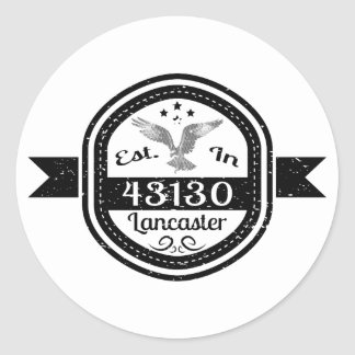 Established In 43130 Lancaster Classic Round Sticker