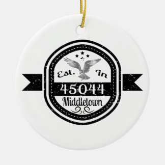 Established In 45044 Middletown Ceramic Ornament
