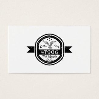 Established In 47906 West Lafayette Business Card