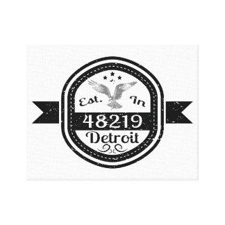 Established In 48219 Detroit Canvas Print