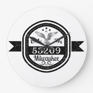 Established In 53209 Milwaukee Large Clock