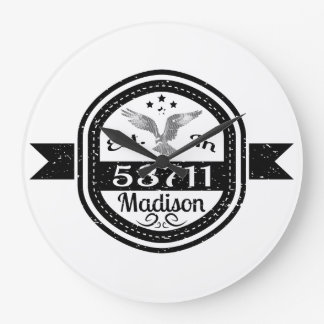 Established In 53711 Madison Large Clock