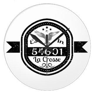 Established In 54601 La Crosse Large Clock