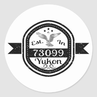 Established In 73099 Yukon Classic Round Sticker