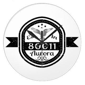 Established In 80011 Aurora Large Clock
