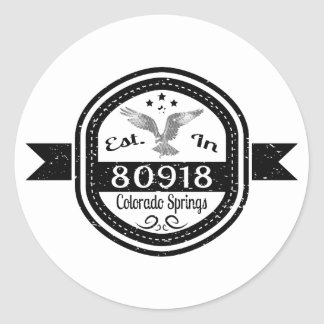 Established In 80918 Colorado Springs Classic Round Sticker