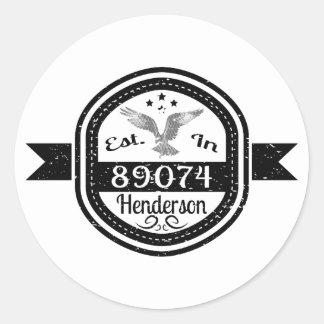 Established In 89074 Henderson Classic Round Sticker