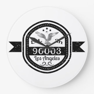 Established In 90003 Los Angeles Large Clock
