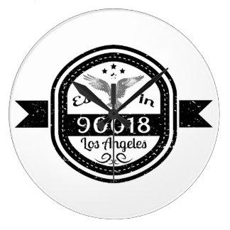 Established In 90018 Los Angeles Large Clock