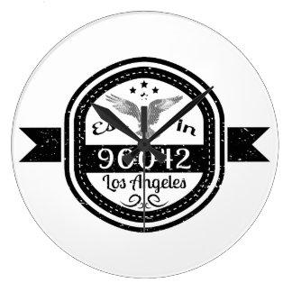 Established In 90042 Los Angeles Large Clock