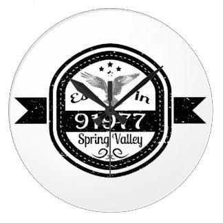 Established In 91977 Spring Valley Large Clock