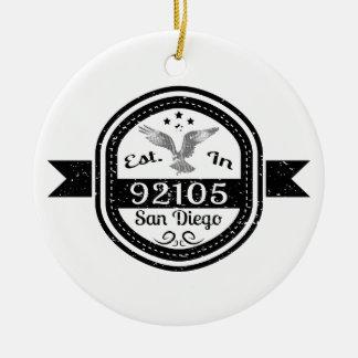 Established In 92105 San Diego Ceramic Ornament