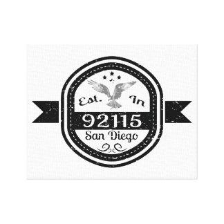 Established In 92115 San Diego Canvas Print