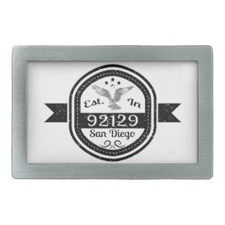 Established In 92129 San Diego Rectangular Belt Buckle