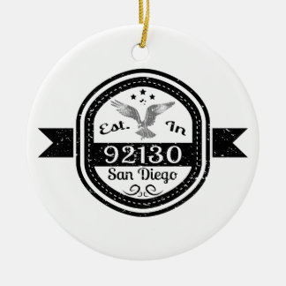 Established In 92130 San Diego Ceramic Ornament