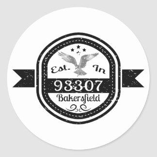 Established In 93307 Bakersfield Classic Round Sticker