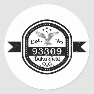 Established In 93309 Bakersfield Classic Round Sticker