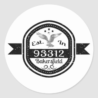 Established In 93312 Bakersfield Classic Round Sticker