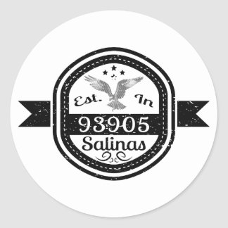 Established In 93905 Salinas Classic Round Sticker