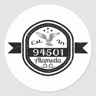 Established In 94501 Alameda Classic Round Sticker