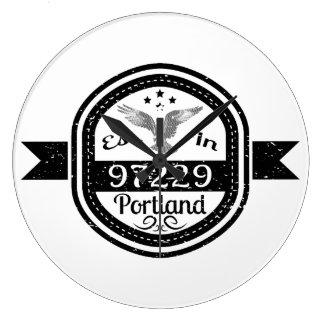Established In 97229 Portland Large Clock