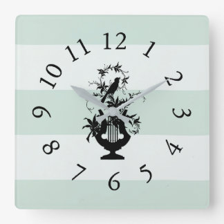 Estate-Farmhouse-Stripes-Celadon-Clocks Square Wall Clock