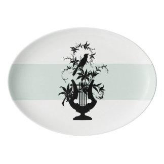 Estate-Serving-Celadon-Bird-Platter Porcelain Serving Platter