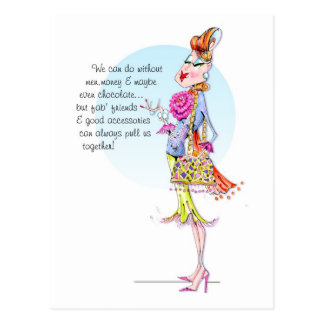 Estelle tells the power of friends n' accessories. postcard