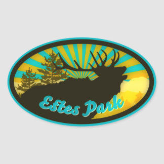 Estes Park Elk Sunrise Oval Sticker
