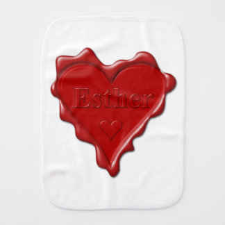 Esther. Red heart wax seal with name Esther Burp Cloth