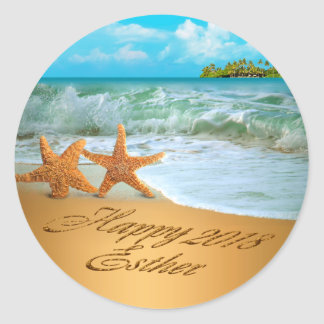 Esther Starfish Couple ASK 4 NAMES PUT IN SAND Classic Round Sticker