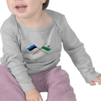 Estonia and Ida-Viru Crossed Flags Tshirts