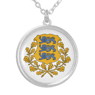 Estonia Coat Of Arms Round Pendant Necklace
