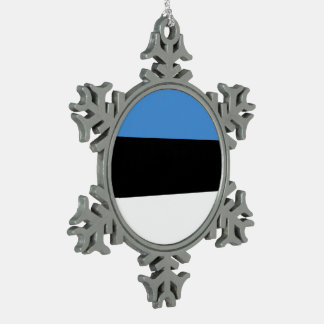 Estonia Flag Pewter Snowflake Decoration