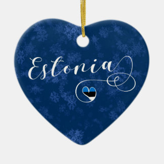 Estonia Heart, Christmas Tree Ornament, Estonian Ceramic Ornament