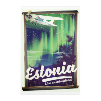 Estonia Northern lights adventure poster. Acrylic Print