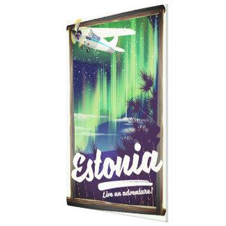 Estonia Northern lights adventure poster. Canvas Print