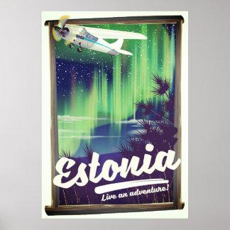 Estonia Northern lights adventure poster. Poster