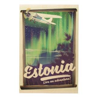 Estonia Northern lights adventure poster. Wood Wall Decor